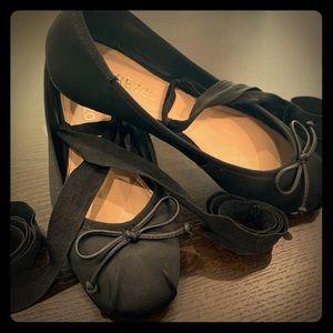 Other - Black Satin Ribbon Ankle Ties Ballerina Flat